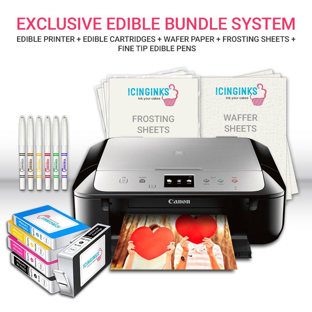 Icinginks Edible Printer Art Package Comes With Edible Printer Edible Cartridges 20 Wafer Paper 5 Frosting Sheets Set Of 6 Fine Tip Edible