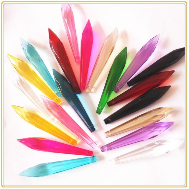 76mm 35pcs 15 Colors To Choose Crystal Chandelier Prisms Glass Hanging Crystals For Lamps Icicle U