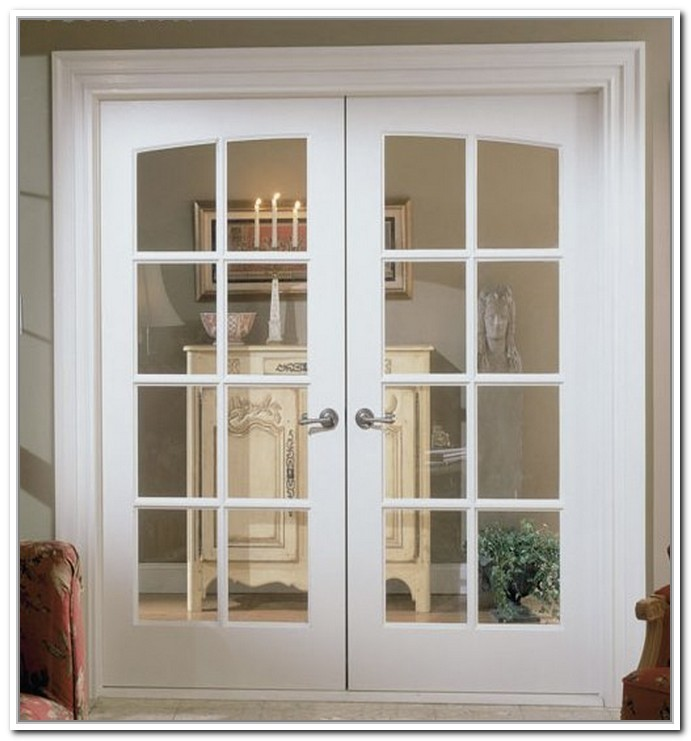 White Prefinished Solid Core Clear Glass Interior French