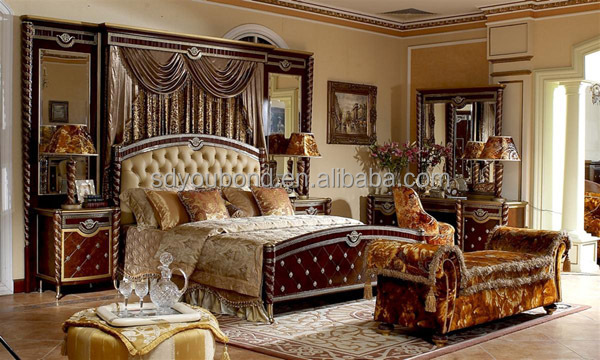 0026 Luxury Royal Wooden Carved Bedroom Set Turkish Style