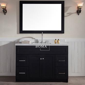 boma 48 pouces noir classique vanite de bain avec tiroirs blanc dessus en quartz