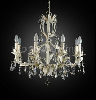 Traditional French Provincial Chandelier White Leaf 8 Lights