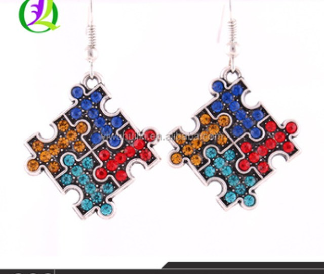 E  Huilin Jewelry Zinc Crystal Autism Awareness Hope Puzzle Piece Pendant French Hook Multi