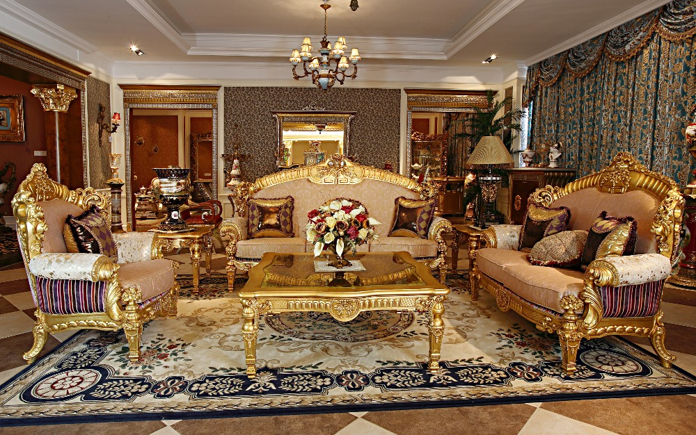 Luxury French Rococo Wood Carved Goldleaf Living Room Sofa Set European Antique Royal Palace