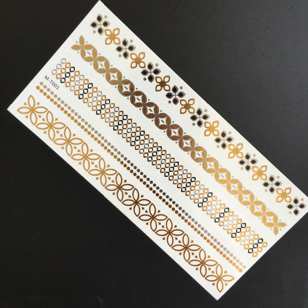 металлическая золотая серебряная цветная вспышка временная татуировка наклейка