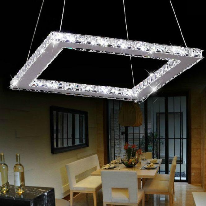 Square Modern Crystal Chandelier For Living Room Dining