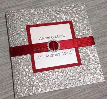Custom Printed Pebble Embossed Silver Pocket Wedding Invitation With Ribbon
