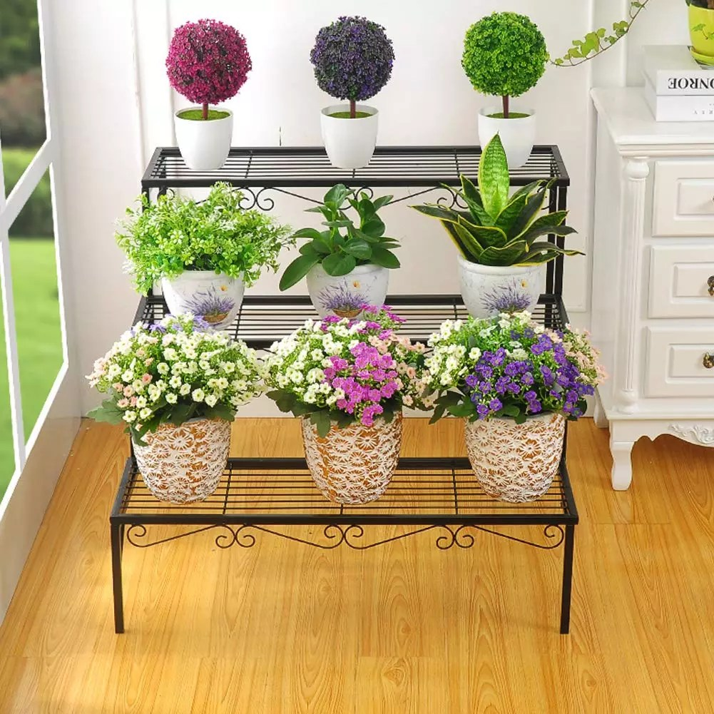 plant stand 3 tier stair style metal plant holder patio iron plant rack step design garden shelf for large flower pot display view plant holder