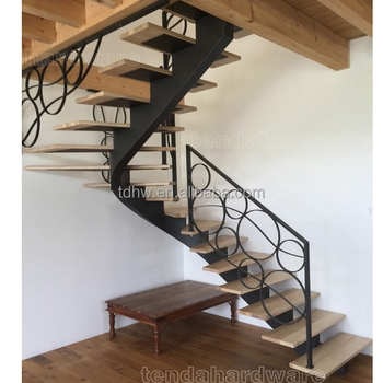 Single Stringer Curved Carbon Steel Wood Stair With Wrought Iron | Wood And Rod Iron Railing | Wooden | Dark Stained | Wrought Iron | Pipe | Simple Modern