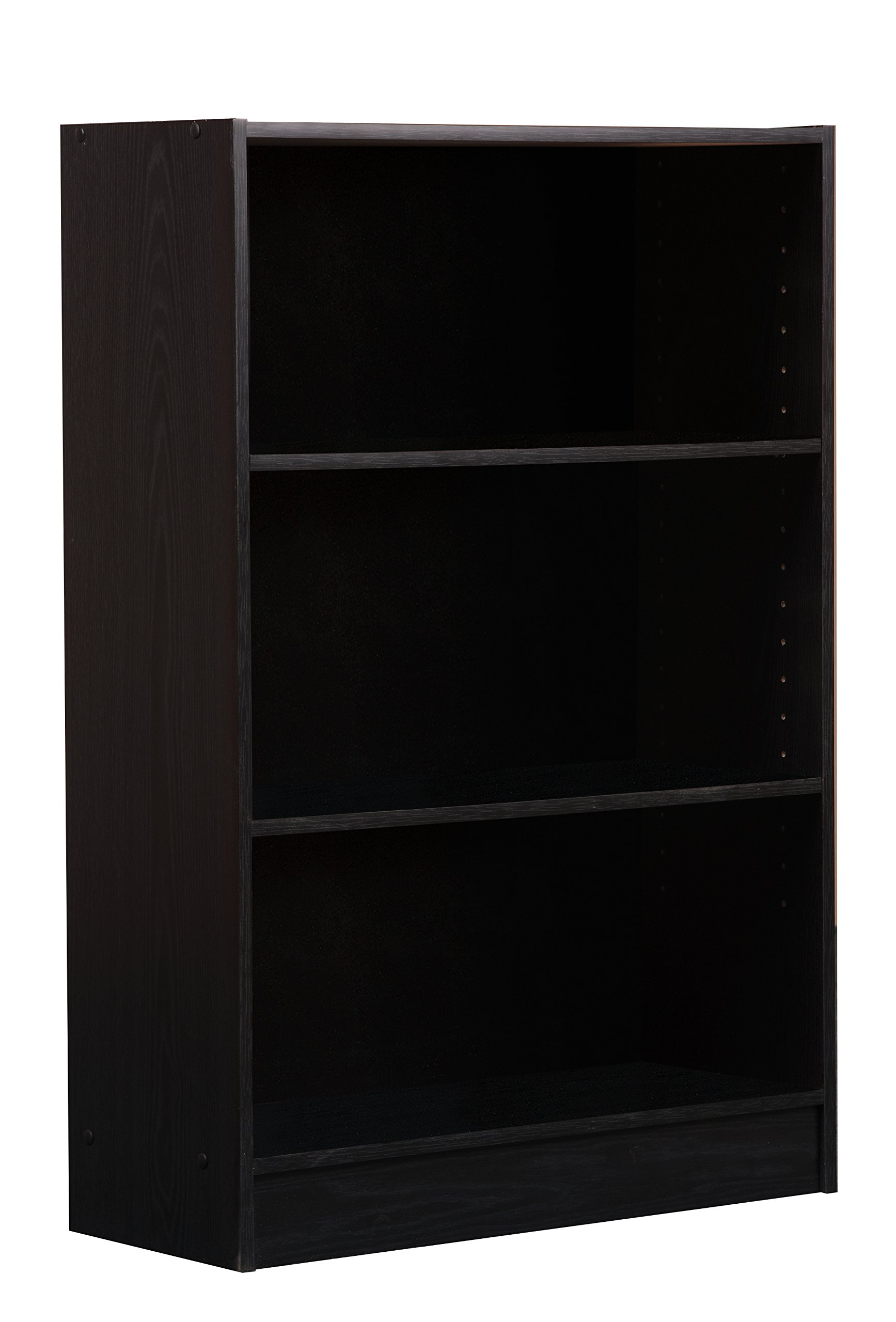 Mylex Three Shelf Bookcase Two Adjustable Shelves 9 5 X 24 5 X 35 5 Inches Black Assembly Required 43004