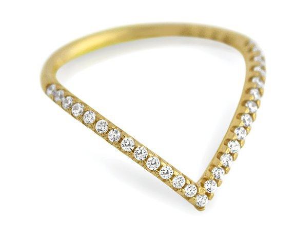 Vintage Chevron Gold Diamond V Shape Ring Buy Diamond V