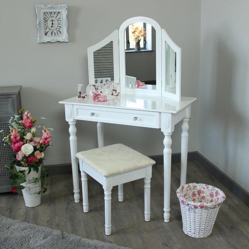 White Bedroom Dressing TableTriple Mirror Amp Stool Set