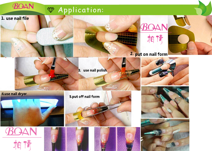 Bqan New Professional Nail Forms Acrylic Curve Gel Extension Art Guide Form Sticker