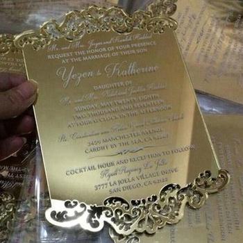 Emas Mewah Cermin Acrylic Undangan Pernikahan Buy Golden Cermin