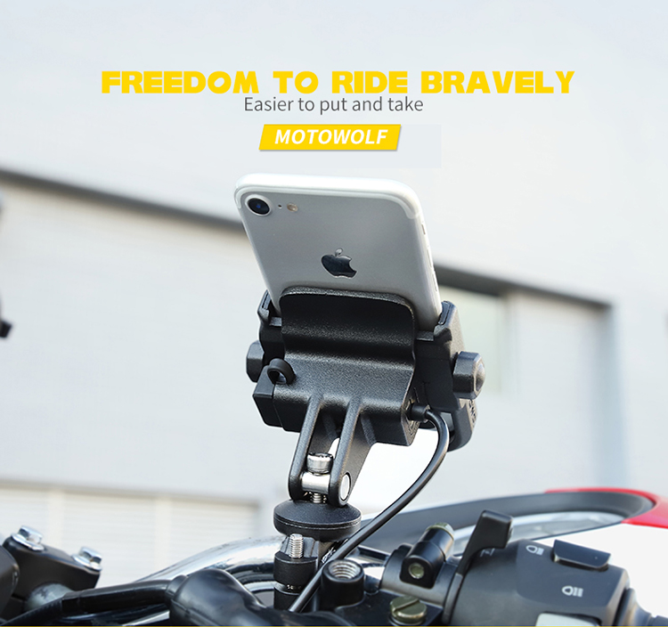 MOTOWOLF 4-6.5 Inch Aluminum Mobile Stand Bicycle Motorcycle Cell Phone Holder For Outdoor Riding