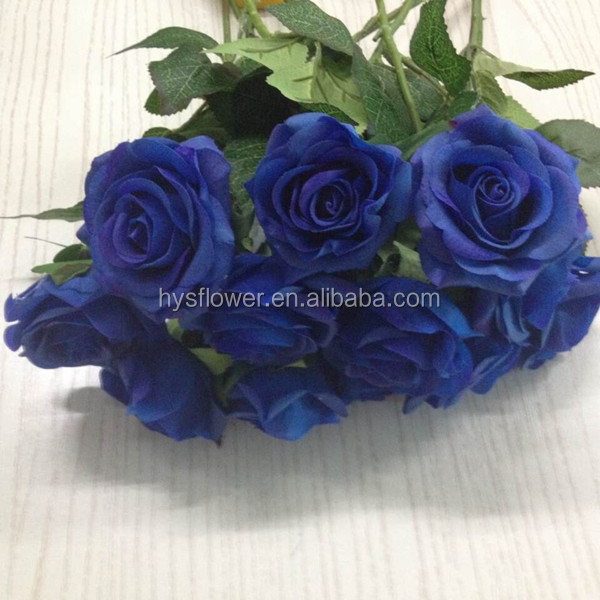 Latex Real Touch Small Rose Flowers Royal Blue Wedding