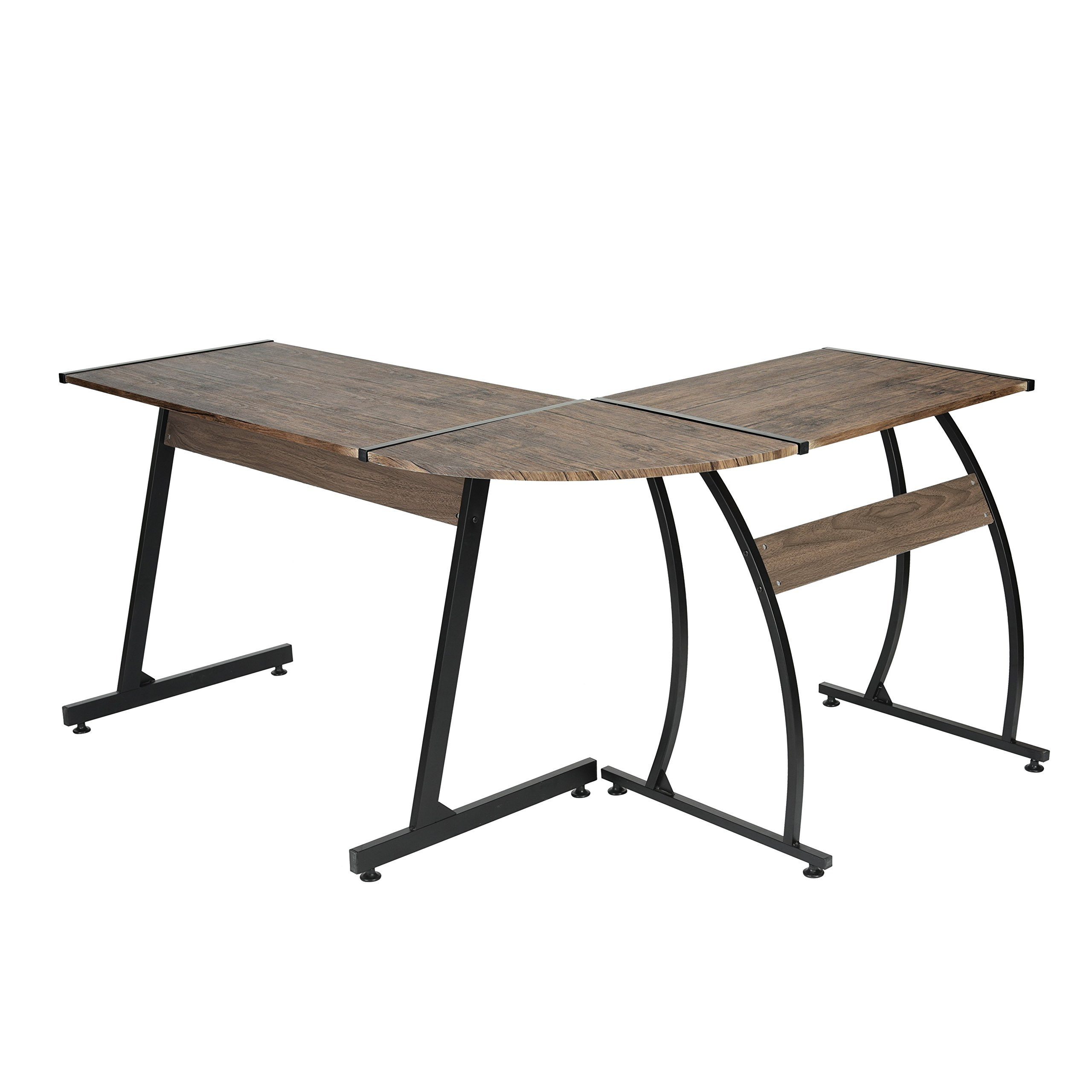 Buy Dark Brown Finish Black Metal Wood L Shape Corner Computer Desk Pc Laptop Table Workstation Home Office In Cheap Price On Alibaba Com