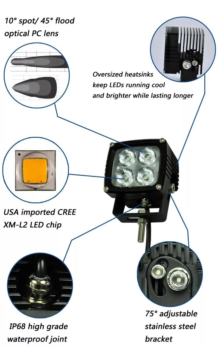 Square Cree Led Work Light Super Bright Cree Xml10w 4 Spot Ip68 4000lm Offroad Cree Led Work Light For Truck Buy Led Work Light Cree Led Work Light Cree Led Work Light For Truck