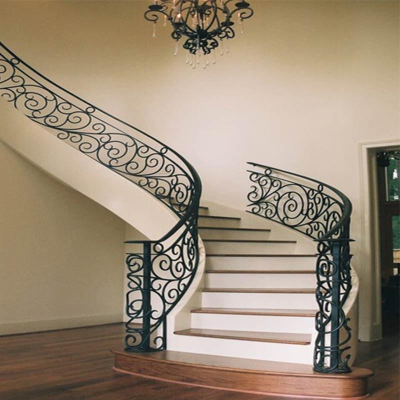 Contemporary Staircase Design Interiors Wrought Iron Curved   Wrought Iron Circular Staircase   Wooden   Living Room   Artistic   Rail   Modern