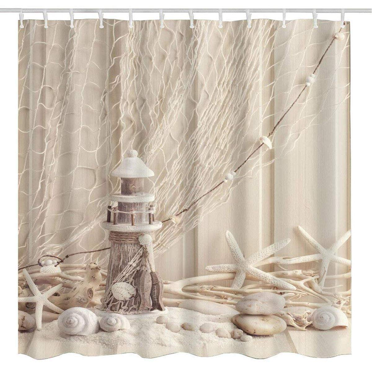 Buy Broshan Nautical Seashell Decor Shower Curtain Fabric