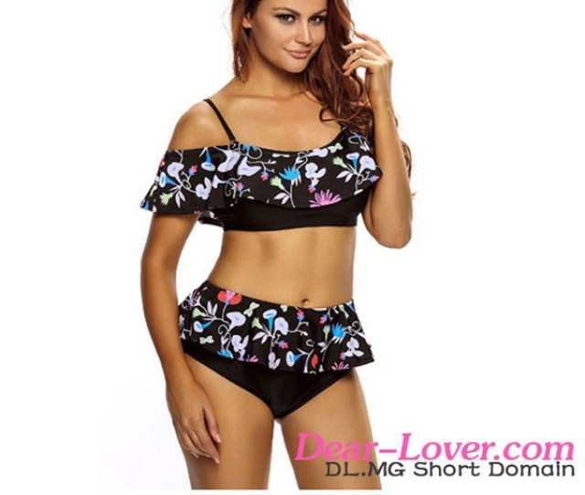 Dark Floral Print Ruffle 2pcs Swimsuit High School Girls Sexy Swimsuit Hot Micro Bikini Girl