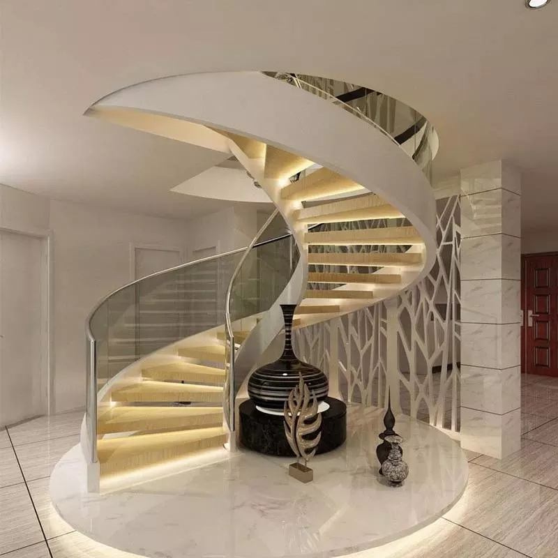 High Quality Best Selling Glass Spiral Stair Led Step Wooden   Wood And Glass Staircase   New   Spiral   Stair Railing   Design   Stair Case