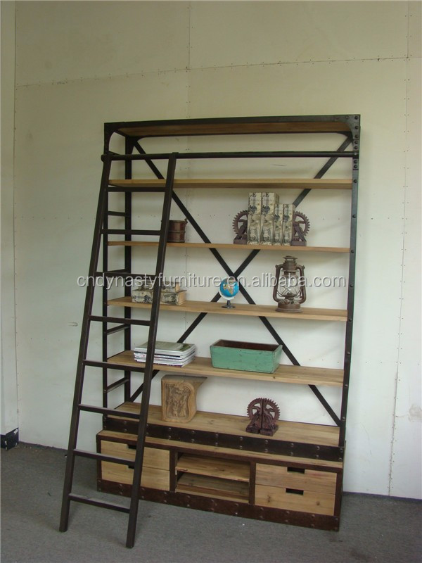 bibliotheque industrielle style vintage avec echelle grande taille buy bibliotheque bibliotheque avec echelle bibliotheque industrielle product on