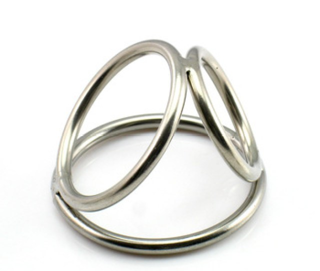 Triple Metal Penis Rings Cage In Two Sizes 5mm Polished