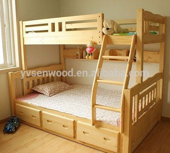 Wooden Bed Modern Kids Double Deck