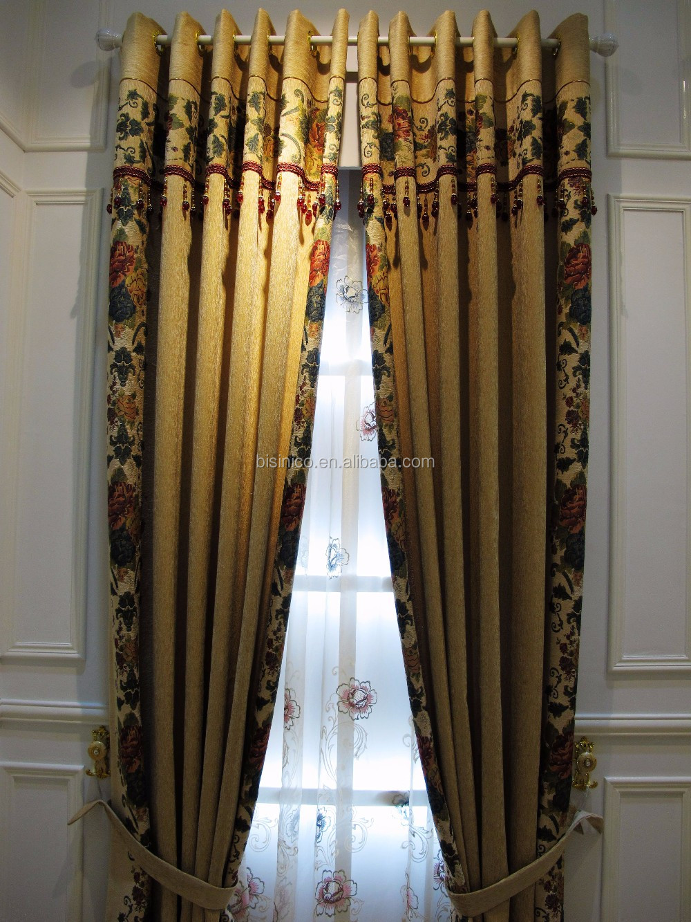European Style Living Room Colourful Curtains Luxury Embroidery Elegant Beaded Curtains With Valance Buy Colourful Curtain Decor Home Elegant