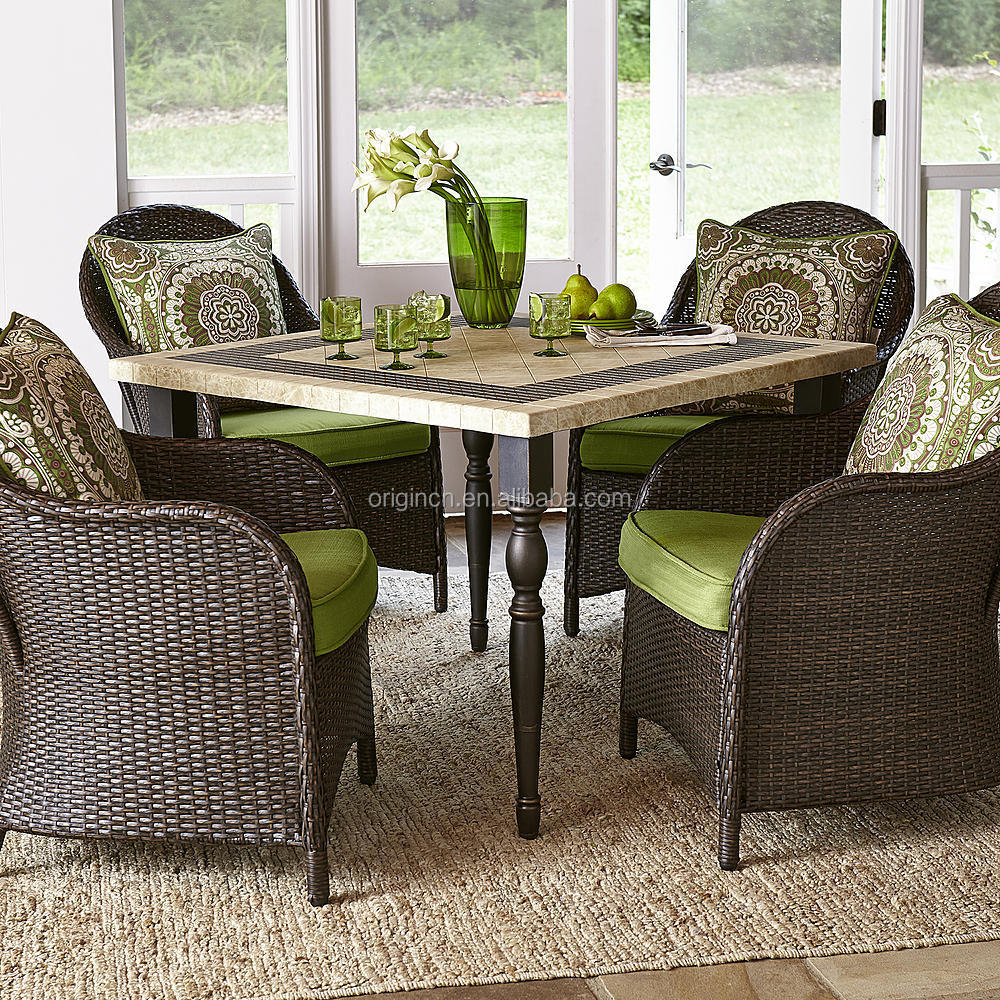 stone granite top square table with 4 rattan dining chairs rooms to go outdoor furniture buy rooms to go outdoor furniture square granite top dining