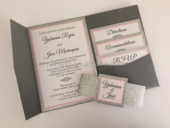 Silver Glitter And Pink Paper Of Pocket Wedding Invitation Cards