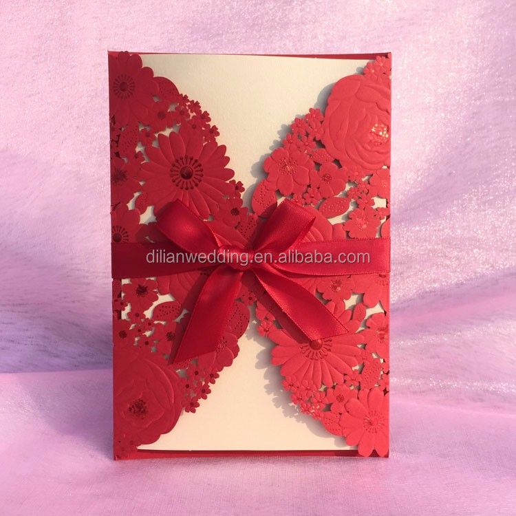 Nice Embossing Flower Wedding Invitations With Ribbon Bow