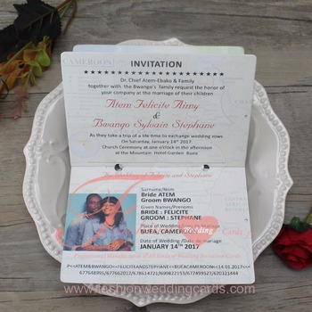 2018 Latest Personalized Chic Passport Wedding Invitation With Personal Photo