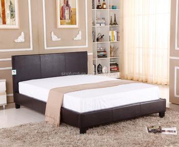 moderne lit de meubles de style conception faux lit en cuir noir metal bois cadre lit