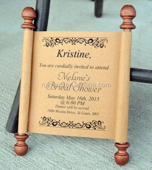 Custom Personalized Box Wooden Bridal Shower Wedding Scroll Invitation Cards Unique Rustic Chic Vintage Boxed Scrolled Invites