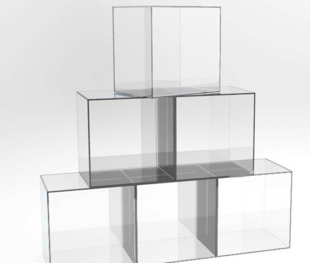 Modern And Elegant Clear Acrylic Lucite Perspex Floor Display Cube Cases Shelves Xx