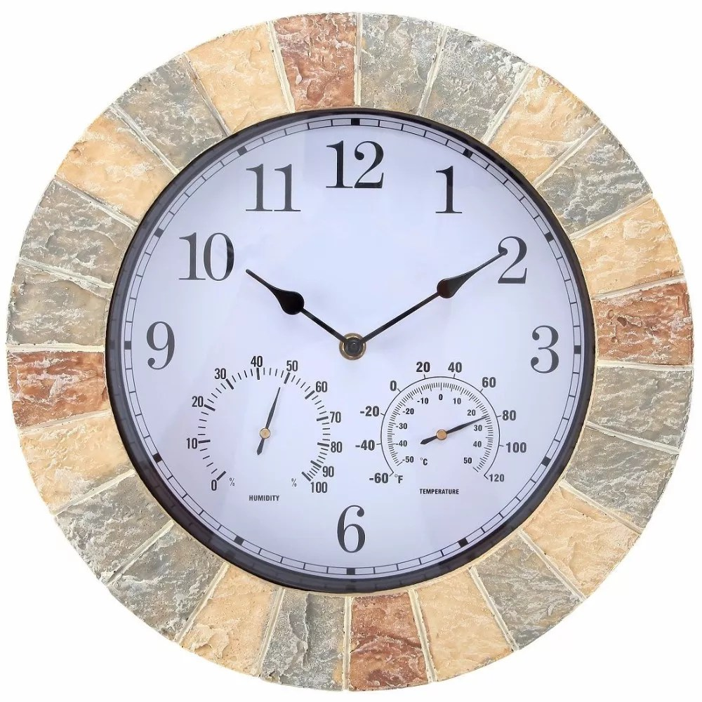 14 inch faux slate outdoor pool wall clock with thermometer and hygrometer buy clock outdoor clock waterproof clock product on alibaba com