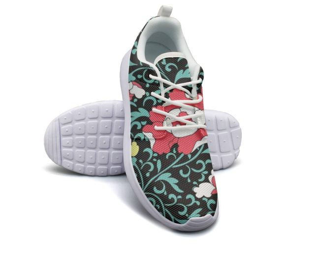 Get Quotations  C B Hjxjessie Womans Vintage Floral Wallpaper Background Running Shoes Jogging Runner Sports Sneakers