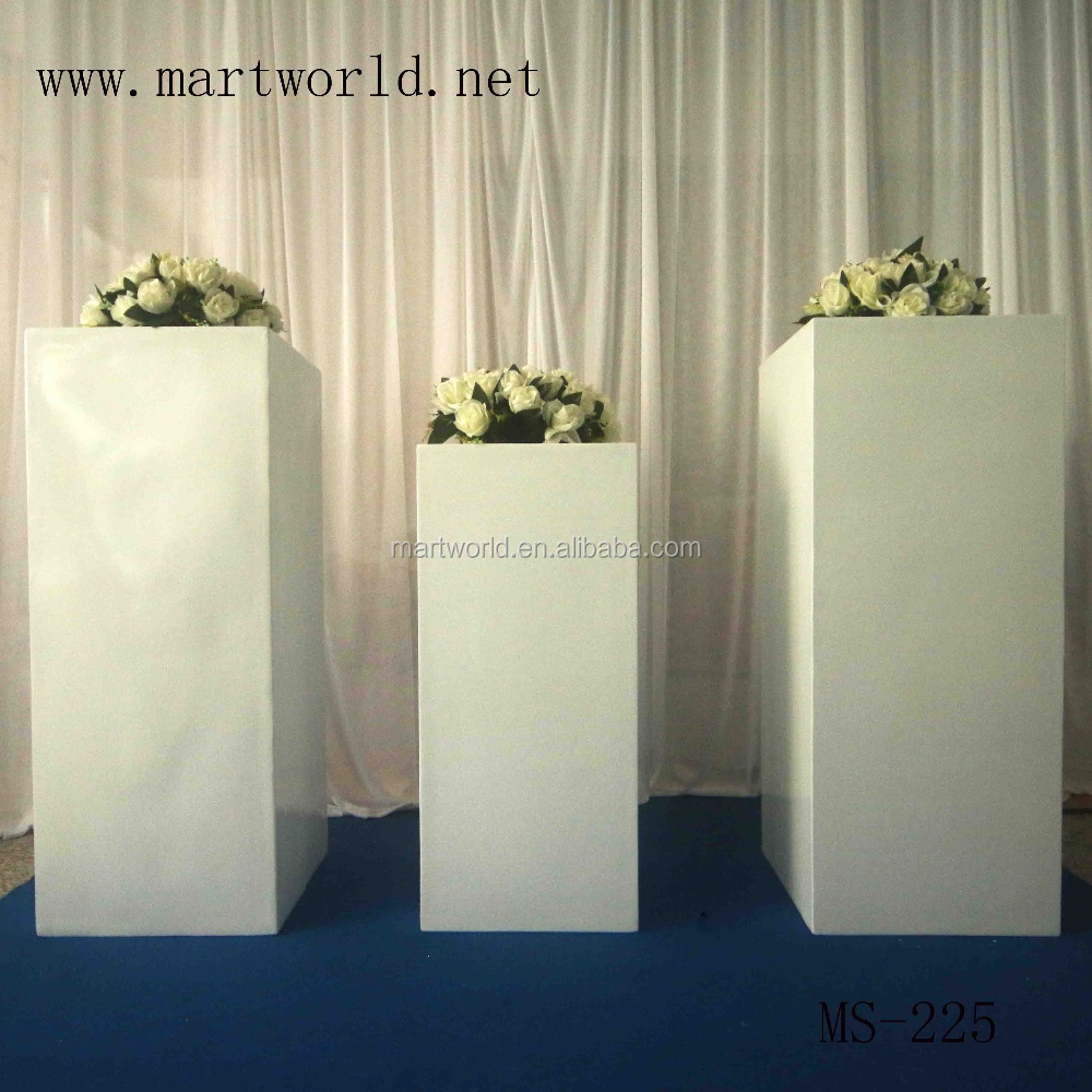 Square White Wedding Pillar Wedding Decoration Vase For