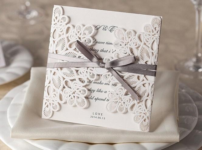Usa Laser Cut Wedding Invitation Card Factory Inc27 With Ribbon 27 02 273