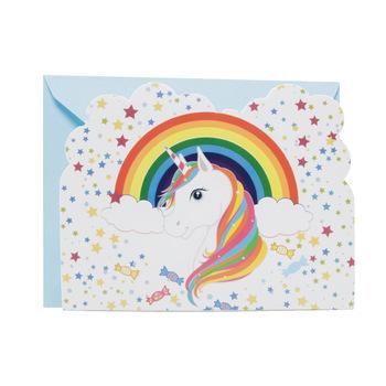 Hot Sale Rainbow Unicorn Undangan Kartu Mini Kartu Ucapan Untuk Anak