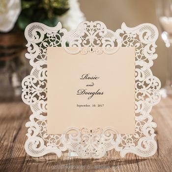Vine Border Embossed Laser Cut Wedding Invitations Cards