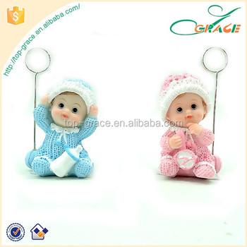 2016 Baby Shower Souvenir Resin Pemegang Kartu Nama Bayi Patung