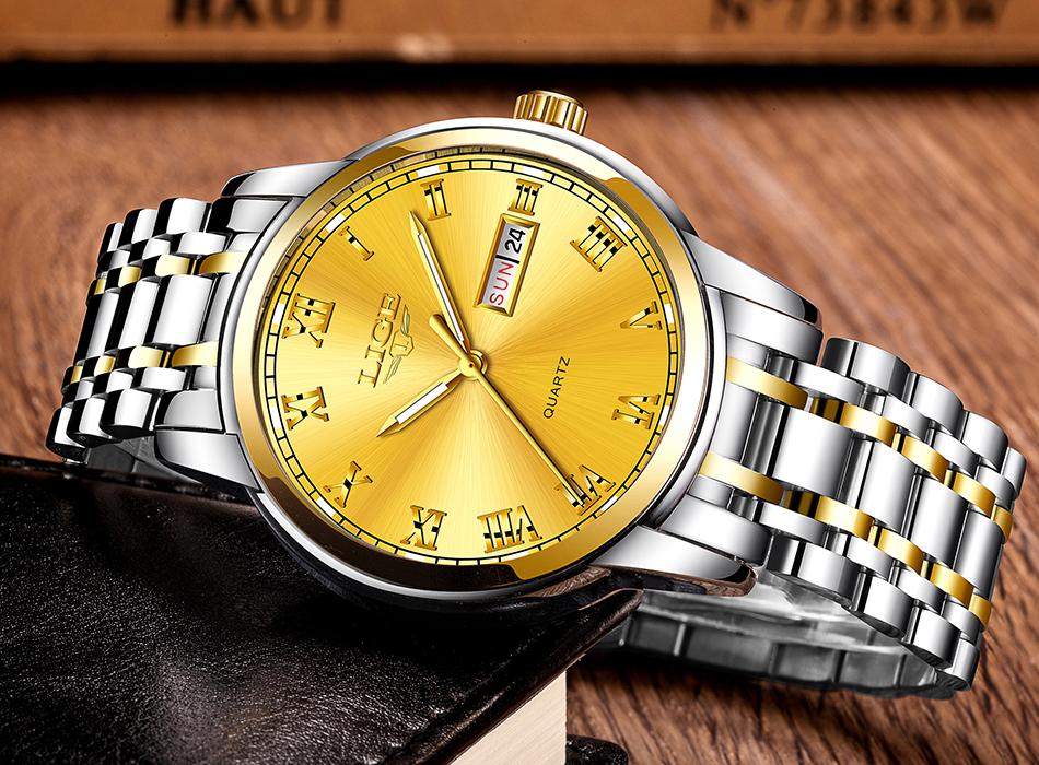 HTB1rjqYf nI8KJjSszgq6A8ApXaz LIGE Watch Men Fashion Sports Quartz Full Steel Gold Business Mens Watches Top Brand Luxury Waterproof Watch Relogio Masculino