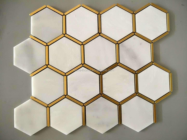 hexagon white marble mosaic tile bathroom tile kitchen backsplash natural stone gold inlay decorative wall tiles buy stone tile backsplash natural