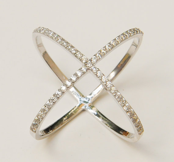 Sterling Silver Criss Cross RingsSolid Silver X Knuckle