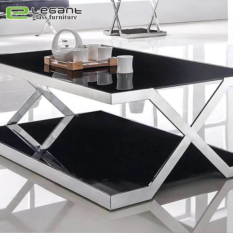 design double deck black glass coffee table with stainless steel base buy glass coffee table top large coffee table coffee table design product on