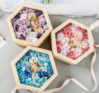 Acrylic Lids Fancy Decorative Hexagonal Christmas Wooden