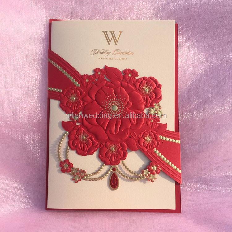 2017 New Embossing Flower Laser Cut Wedding Cards Invitation